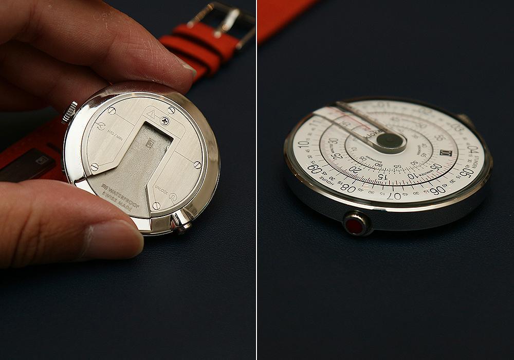 Klokers的快拆錶代設計,只要按壓8點鐘位置的紅色按鈕就能輕鬆拆卸,錶帶另外也能當作手環配件。