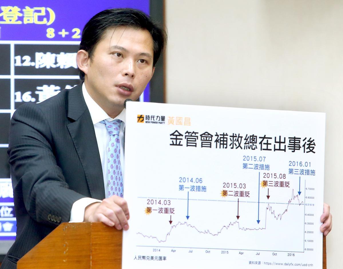 立委黃國昌針對銀行非法銷售TRF造成的金融問題對金管會提出砲火猛烈的抨擊。(聯合知識庫)