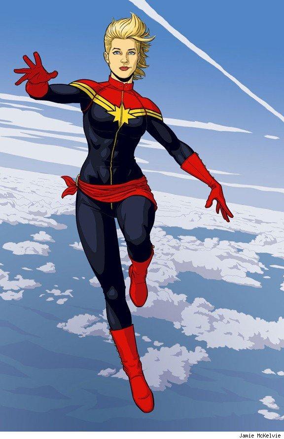 漫畫裡的「驚奇隊長」造型帥氣,像個鄰家女孩的布麗會被如何改造也讓人大為好奇。(翻攝網路圖片)
