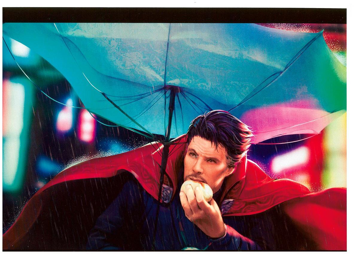 紅遍全球的「颱風肉包」,主角阿嬤被漫威粉畫成奇異博士,笑果十足,獲得漫威特別獎。