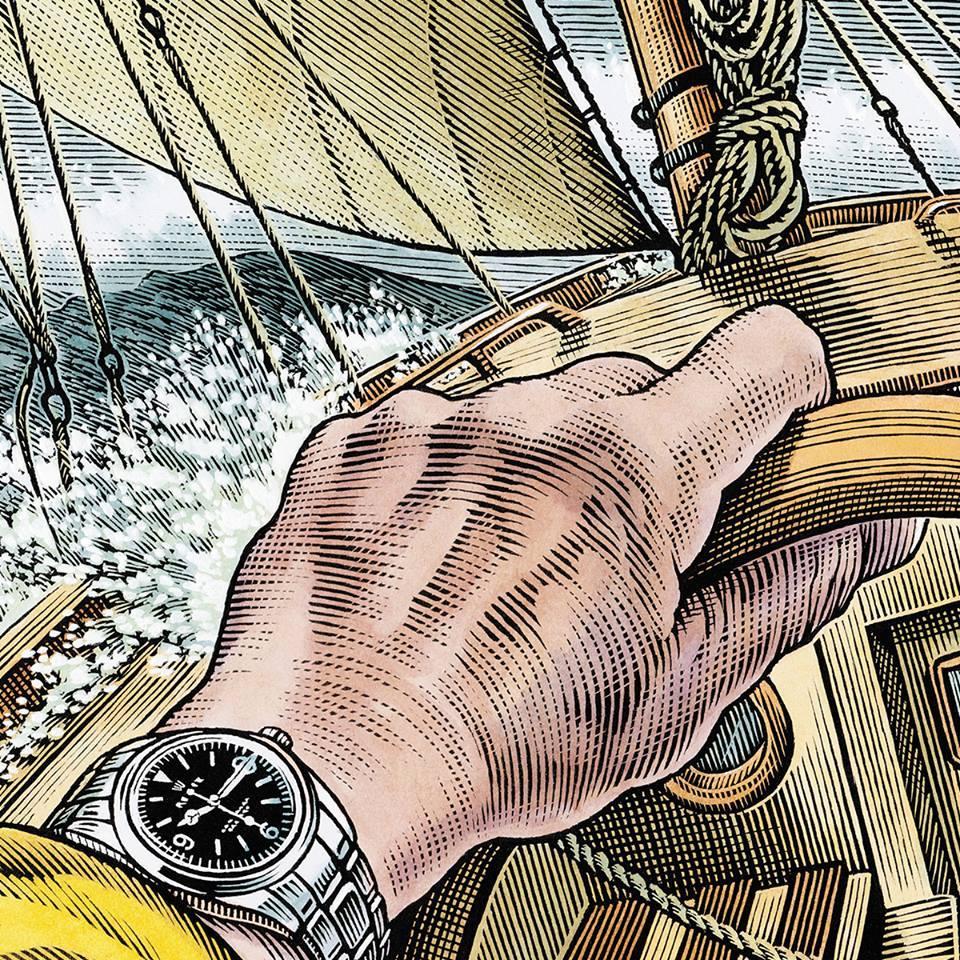 探險家C. Harcourt-Smith戴著勞力士探險家駕駛救生小艇往返大西洋二端。(勞力士提供)