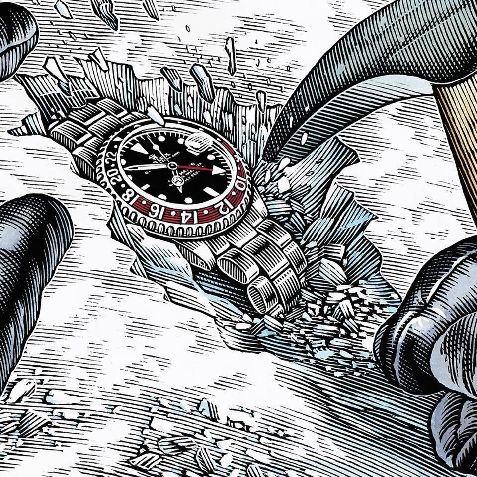 從冰凍的雪地裡找到遺失二個多月的勞力士錶,手錶仍能正常運作。(勞力士提供)