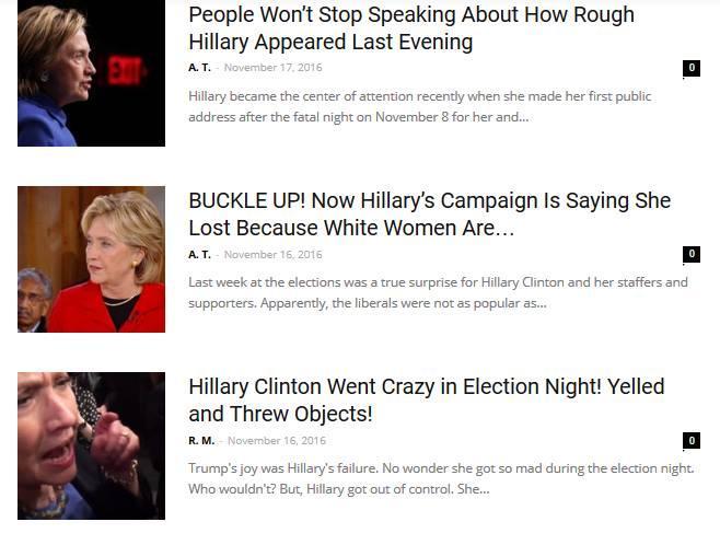 馬其頓挺川普網站內容常是子虛烏有的假新聞,更充斥著希拉蕊的假負面消息。(截自WorldPoliticus.com)
