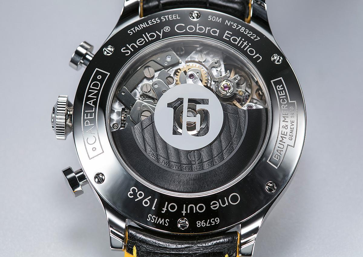搭載7753自動上鍊計時機芯,至於後底蓋玻璃上的數字15,則是紀念過去289 Cobra跑車以編號15號參與諸多賽事而來。
