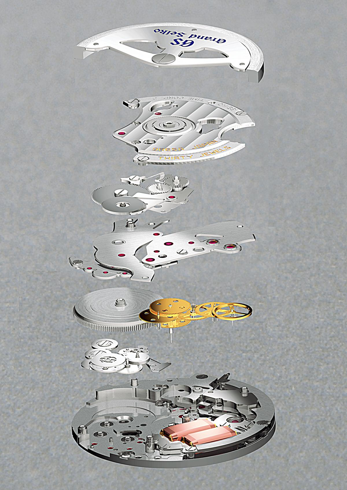 SEIKO「Spring Drive」9R65自動上鍊機芯分解圖