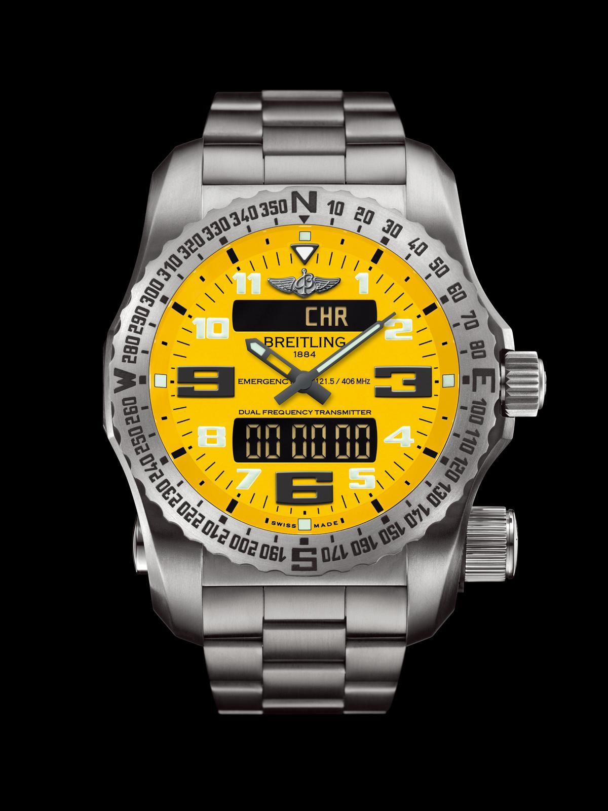 百年靈甚至還幫飛行員開發了一款、也是全球唯一一款名為「Emergency」的緊急求救腕錶,在急難時可以發出國際標準規格的求救訊號,自1995年發表以來已堂堂邁入第二代。百年靈76型石英機芯/鈦金屬材質/錶徑51mm /時、分指示/多功能液晶顯示/ 支援COSPAS-SARSAT全球衛星搜救系統之緊急求救功能/藍寶石水晶錶鏡/防水50米/建議售價:NT$555,100