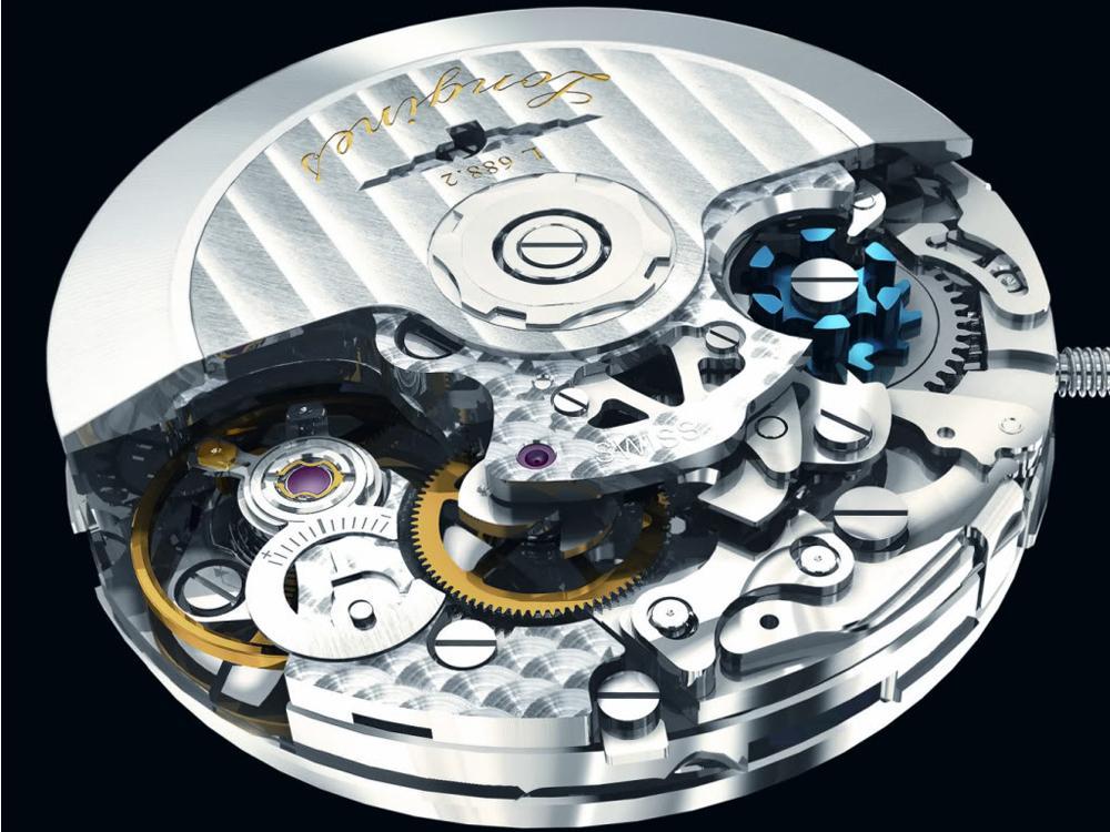 LONGINES使用的導柱輪計時碼錶機芯,請注意還加以藍鋼處理以讓其更為醒目。