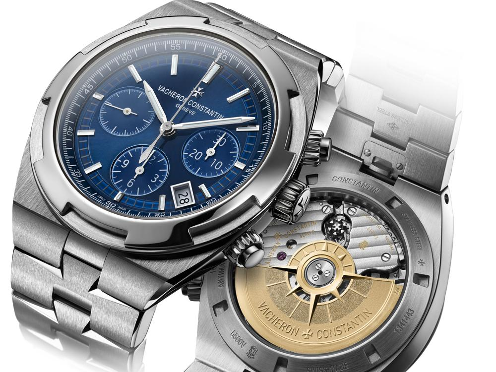 使用5200導柱輪自動上鍊機芯的VACHERON CONSTANTIN Overseas計時碼錶。不鏽鋼材質/錶徑42.5mm /時、分、秒指示/日期顯示/計時碼錶功能/錶殼裝有防磁軟鐵/日內瓦印記認證/藍寶石水晶錶鏡、底蓋/防水150米/建議售價:NT$1,010,000