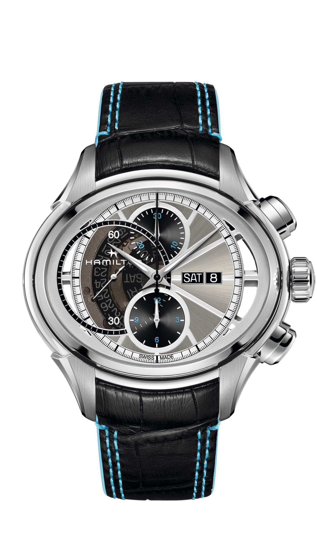裝配以Valjoux 7750改造而成的H-41槓桿凸輪離合機制自動上鍊機芯之HAMILTON Jazzmaster Face 2 Face II雙面計時碼錶。不鏽鋼材質/尺寸53×44mm/時、分、秒指示/日期、星期顯示/雙面計時碼錶功能/藍寶石水晶錶鏡/防水50米/限量1,999只/建議售價:NT$ 126,600
