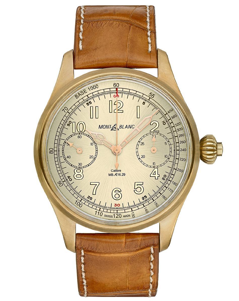 萬寶龍1858系列測速計時碼錶限量款,採用時下很夯的銅質錶殼,是目前市場上單價最高的銅錶,定價NT$ 973,000。