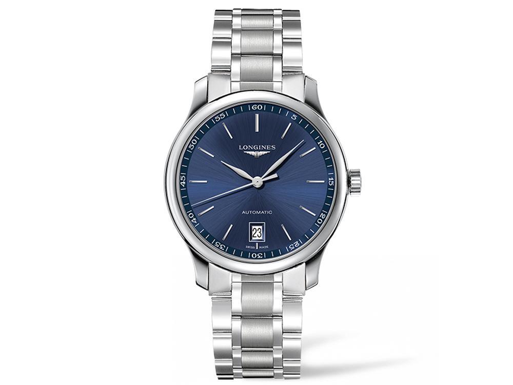 巨擘系列金屬藍面釘字時標腕錶/自動上鍊機芯/不鏽鋼材質/錶徑40mm/時間顯示/日期顯示/藍寶石水晶錶鏡/防水30米/建議售價:NT$65,000