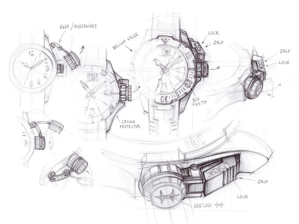 Khaki Navy Frogman系列的設計草圖,可以看到其錶冠保護裝置是一大重點。