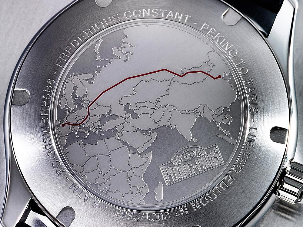 錶背蓋的「北京→巴黎」的路線徽標。