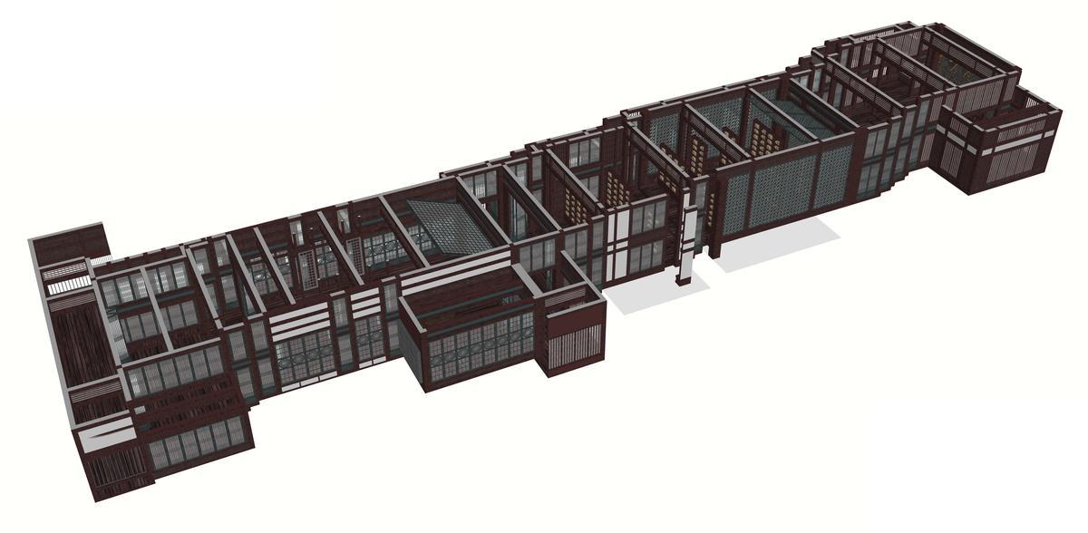 劇組搭建長達50公尺的建築物。(時報文化提供)