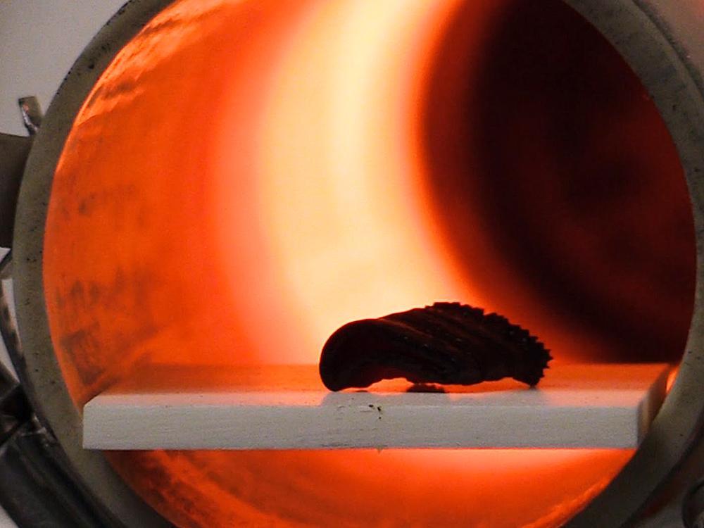 燒結程序中除了以高溫將黏合劑從工件中蒸發掉之外,陶瓷顆粒也開始融合成類似金屬的「晶相」結構,可說是結構陶瓷、甚至是所有精密陶瓷製品最關鍵的一段製程。