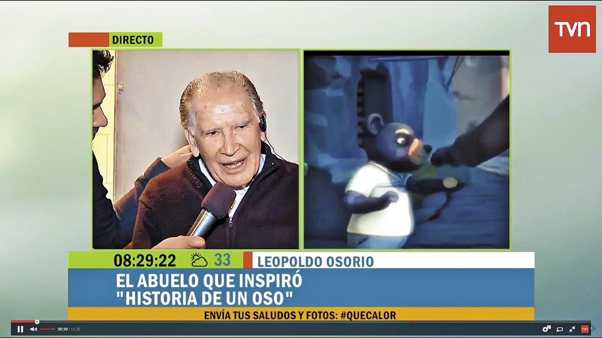 《熊的故事》一夜間成為拉丁美洲的焦點,導演祖父Leopoldo Osorio也因此接受各大媒體採訪。(翻攝自TVN新聞台)