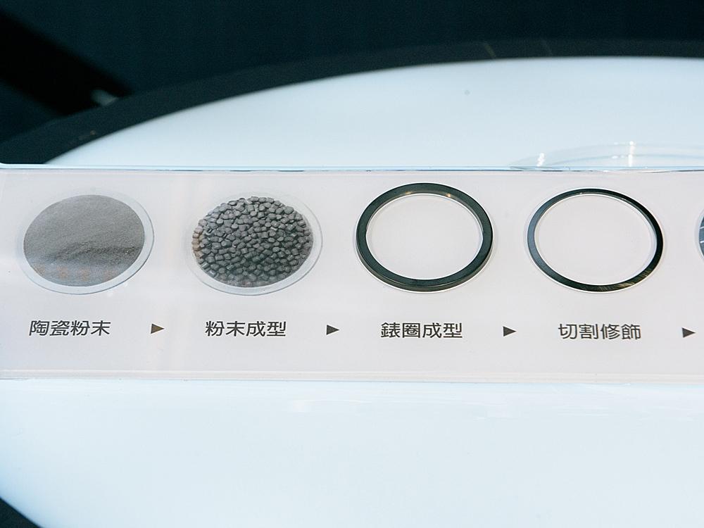 從陶瓷粉末到成型、削切、特殊研磨加工、IP處理等步驟,才能展現出立體感十足的雙層錶圈構造。