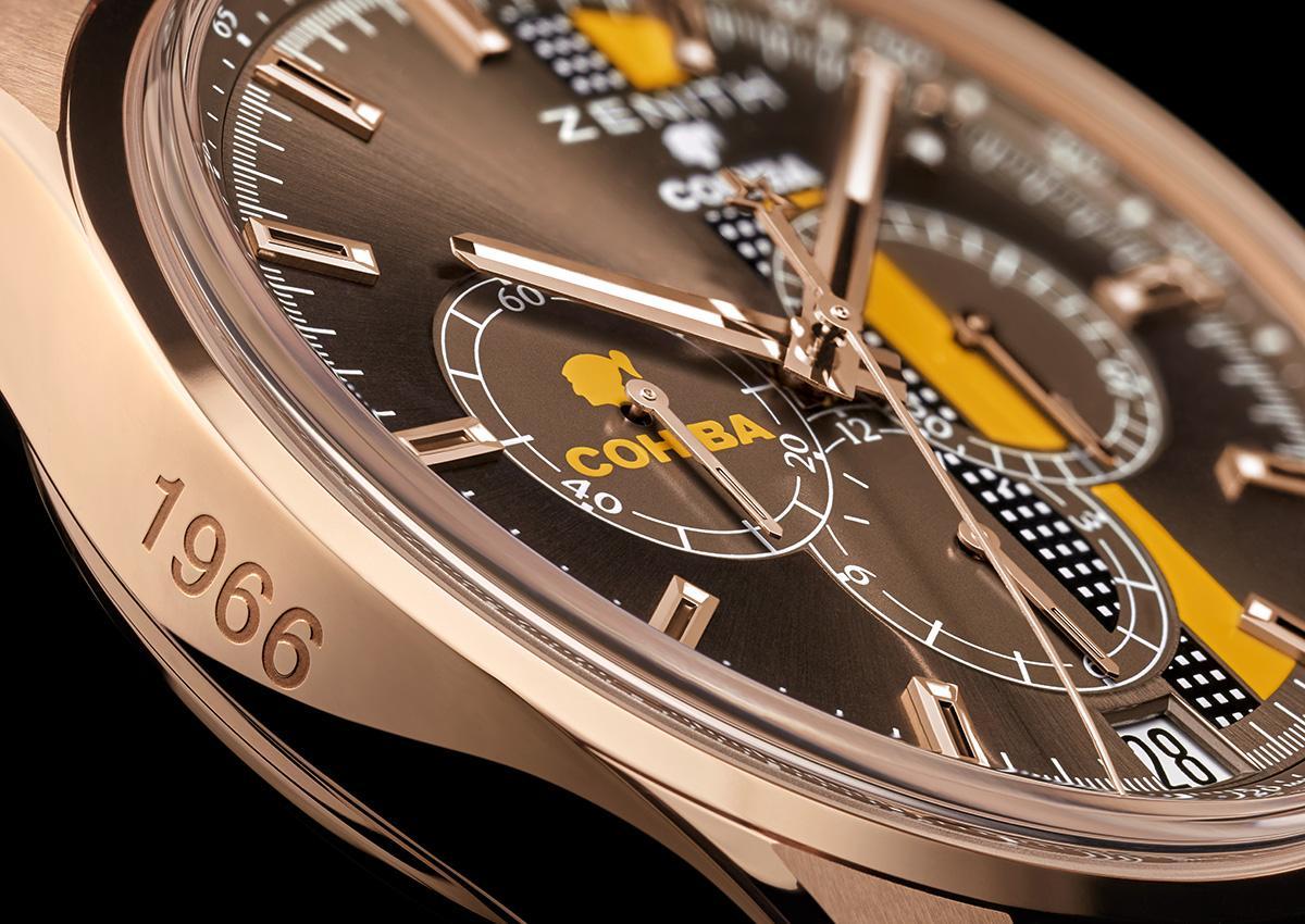 42mm的玫瑰金錶殼側邊,刻有COHIBA的誕生年份1966,而面盤上有COHBIA的標誌性Logo與色彩條紋。