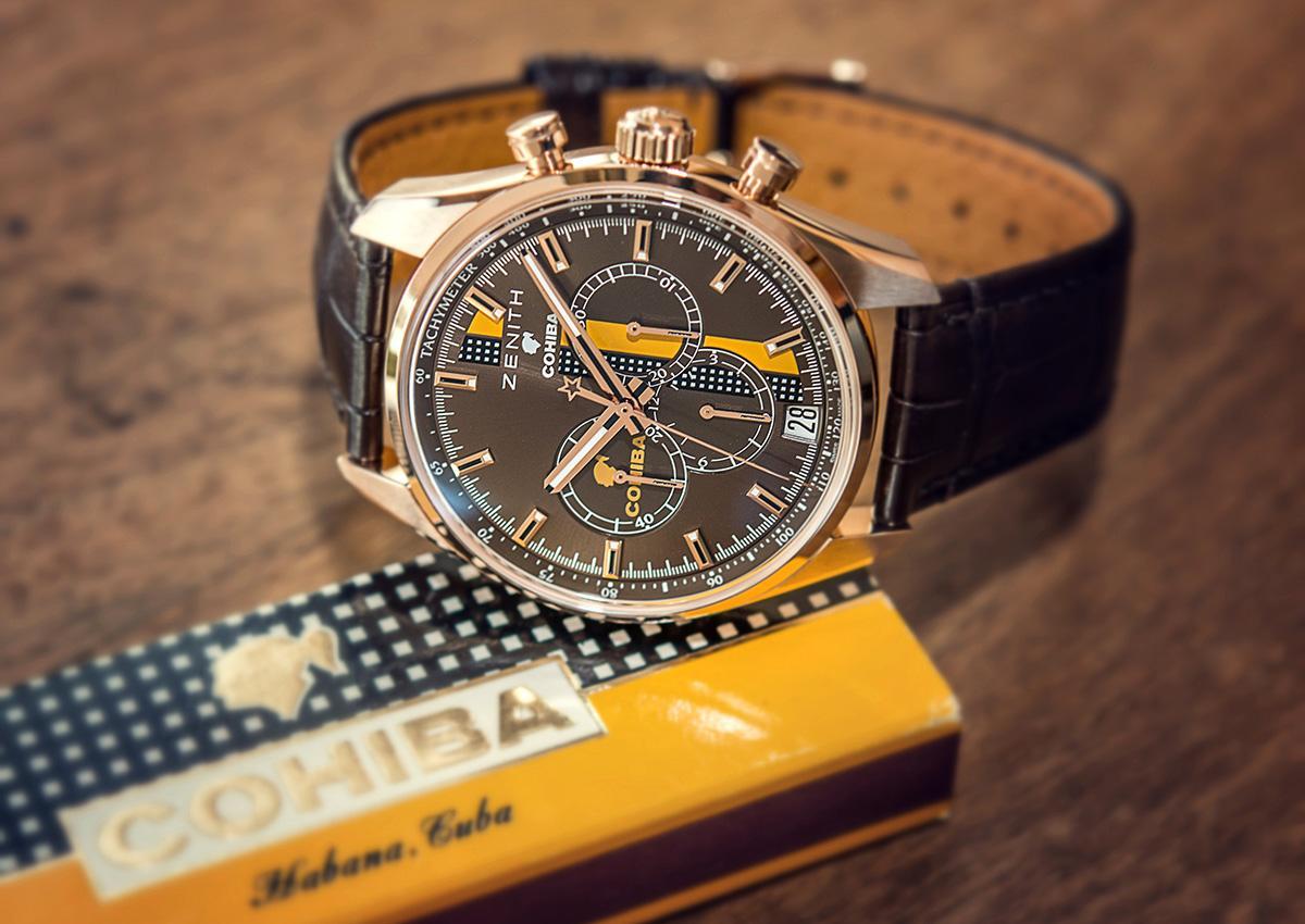 "ZENITH全新的El Primero ""Legend of Cohiba""腕錶,這是第三款COHIBA聯名款式,定價NT$ 601,000。"