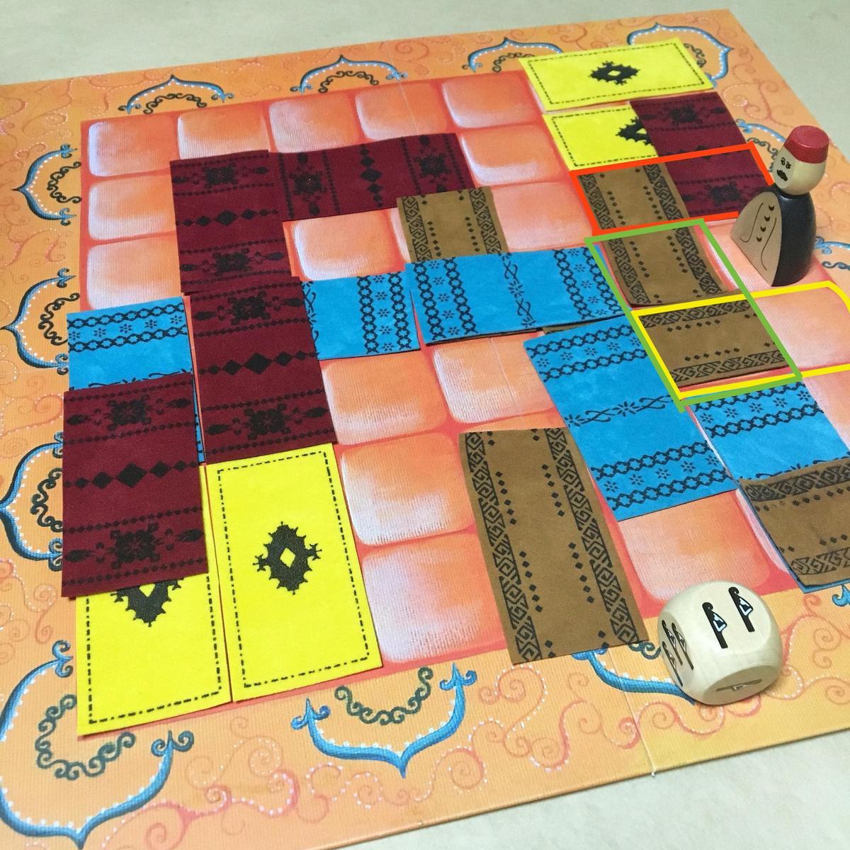 紅、綠、黃三種框線,都是可放置地毯的方式。只要不是完整覆蓋同一塊地毯即可。