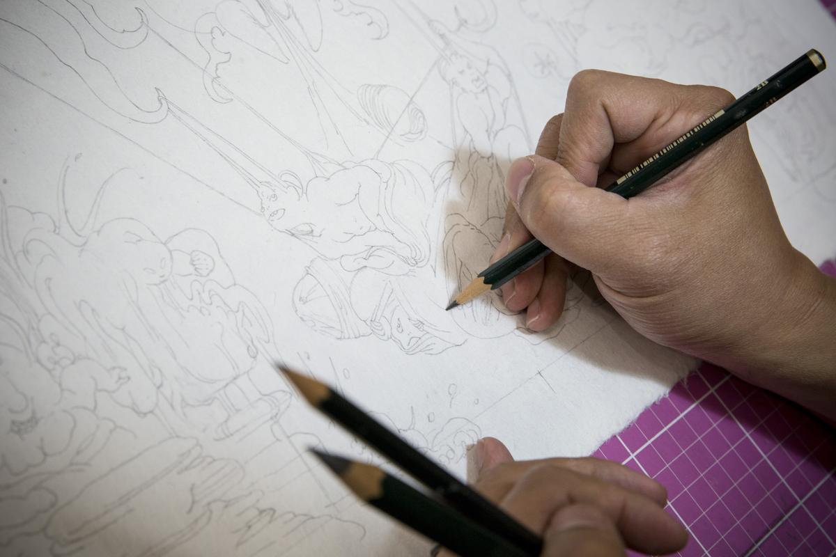 角斯角斯堅持手繪。