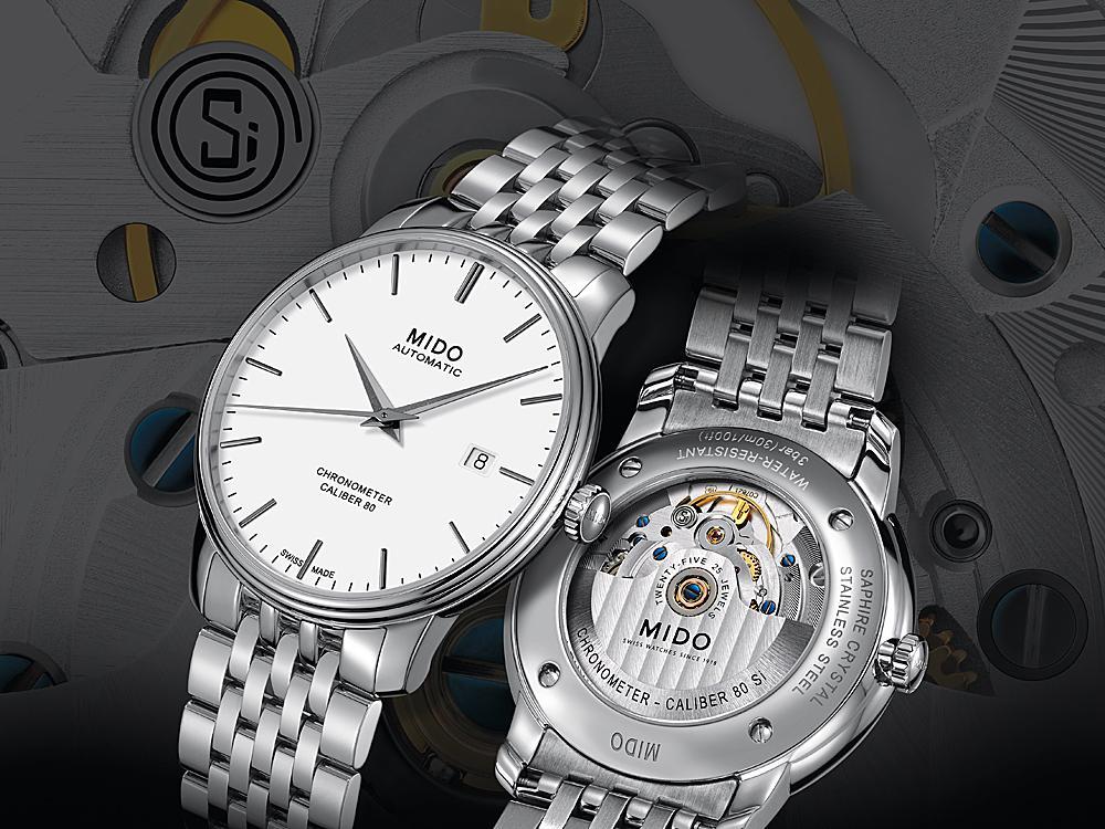 MIDO的「Baroncelli Caliber 80 Chronometer Si永恆系列矽游絲腕錶」裝配全新Caliber 80 Si矽游絲機芯,裝飾9K白金錶橋與Si標誌,具備C.O.S.C.認證,且完全抗磁抗溫差,定價竟然不用台幣4萬元!