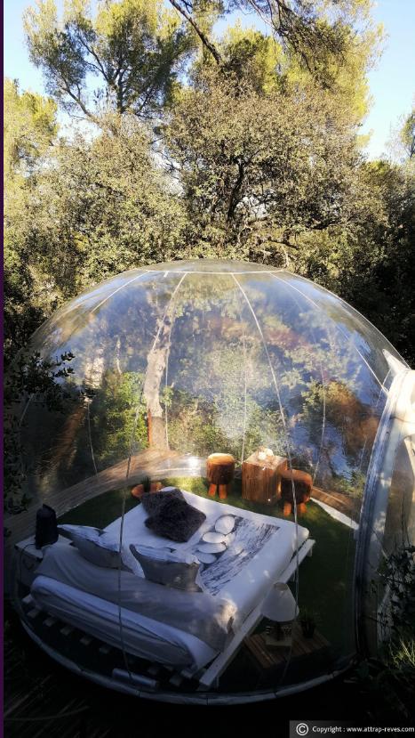 法國的「泡泡旅館」(Attrap Rêves)置身小森林之中。(翻攝自Attrap Rêves 官網)