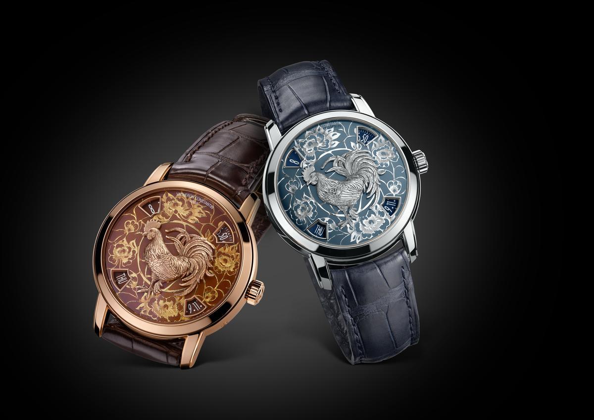一如以往,江詩丹頓的生肖錶都是採用2460G4機芯的樣式,這款機芯將時間顯示以視窗方式呈現在四個角落,中央則保留給主角來表演。鉑金款式與玫瑰金款式各限量12枚,定價分別為4,320,00與3,560,000。