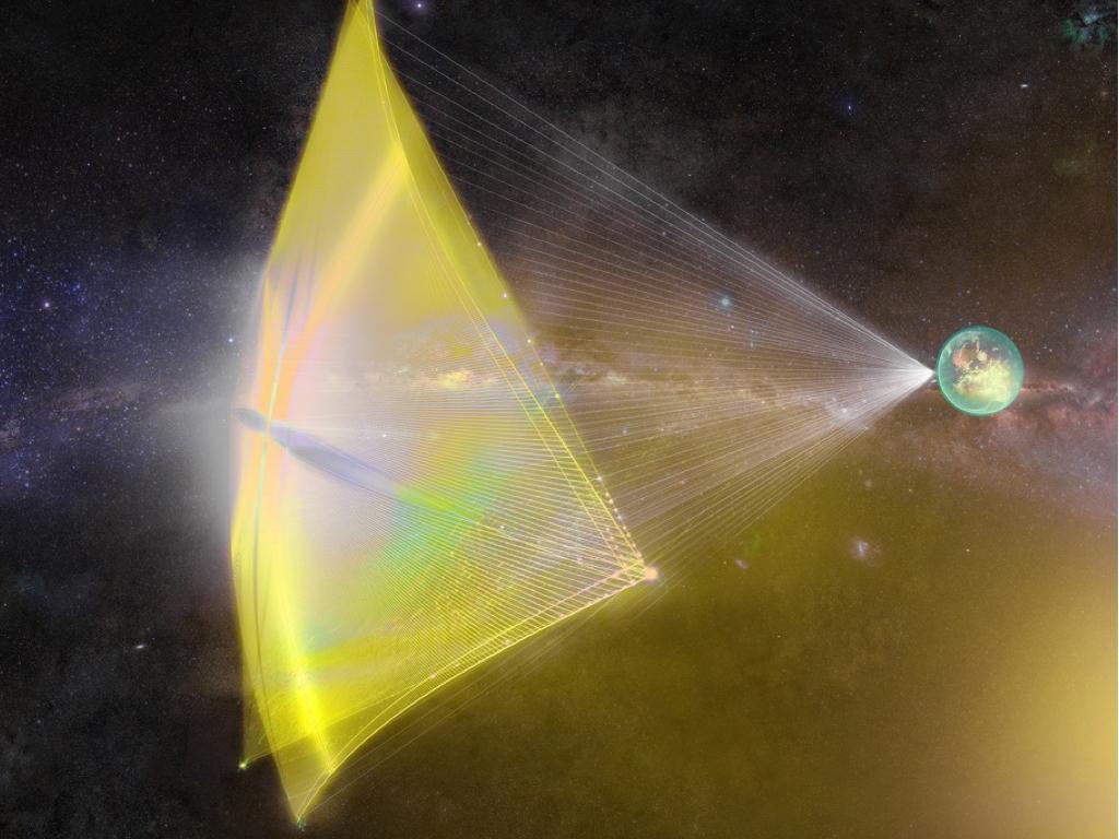 霍金提出「星擊計畫」以光帆技術推送探測器進行跨星系之旅。(取自starshot initiative)