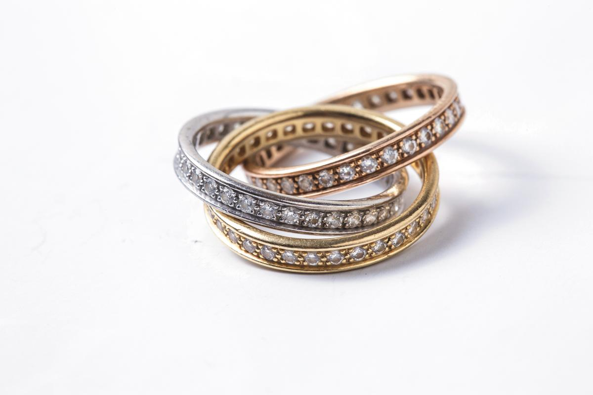 Cartier三環鑽戒。約NT$350,000