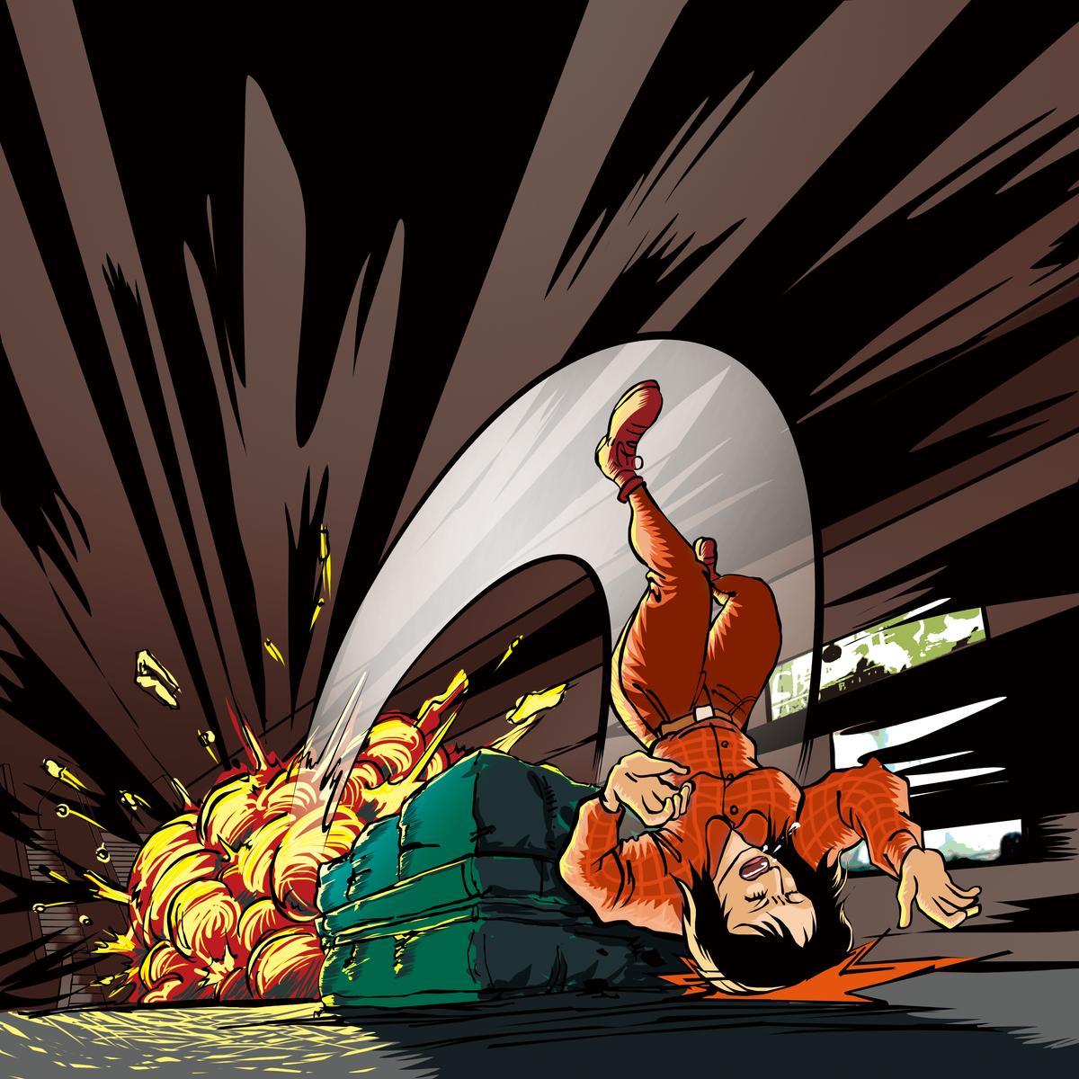 孟耿如摔落在防護墊之外,頭部著地,讓她痛不欲生。(示意圖)