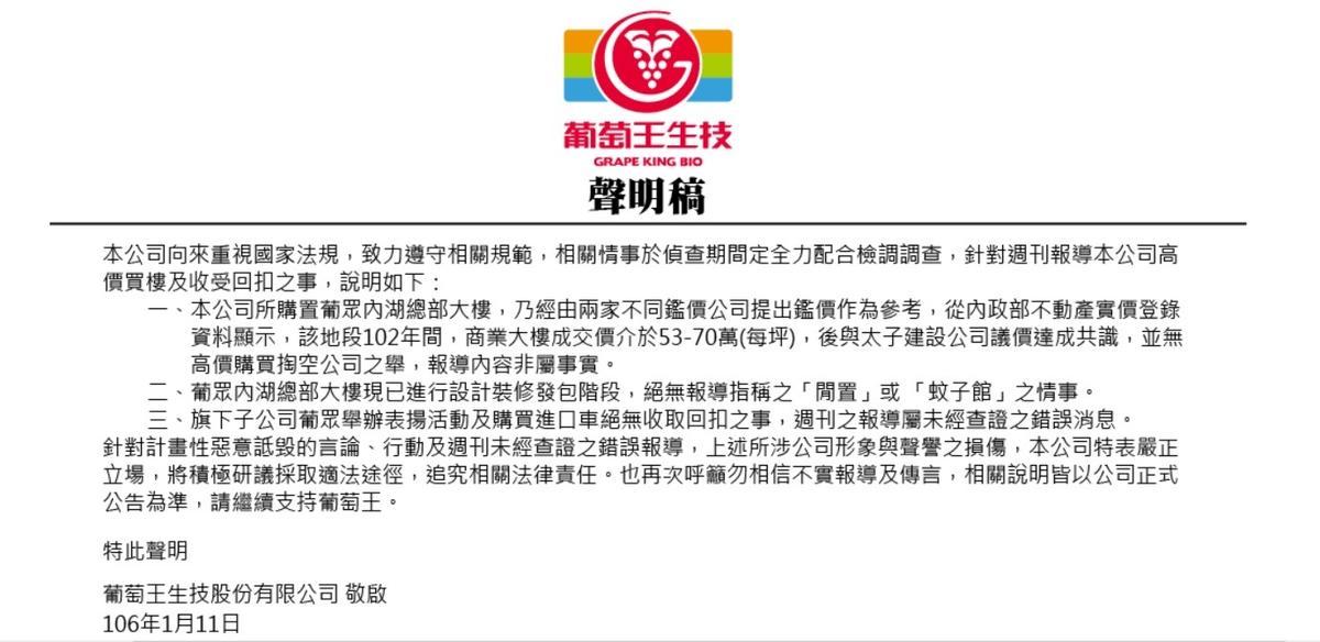 葡萄王官網貼出聲明,否認有收受回扣等不法。