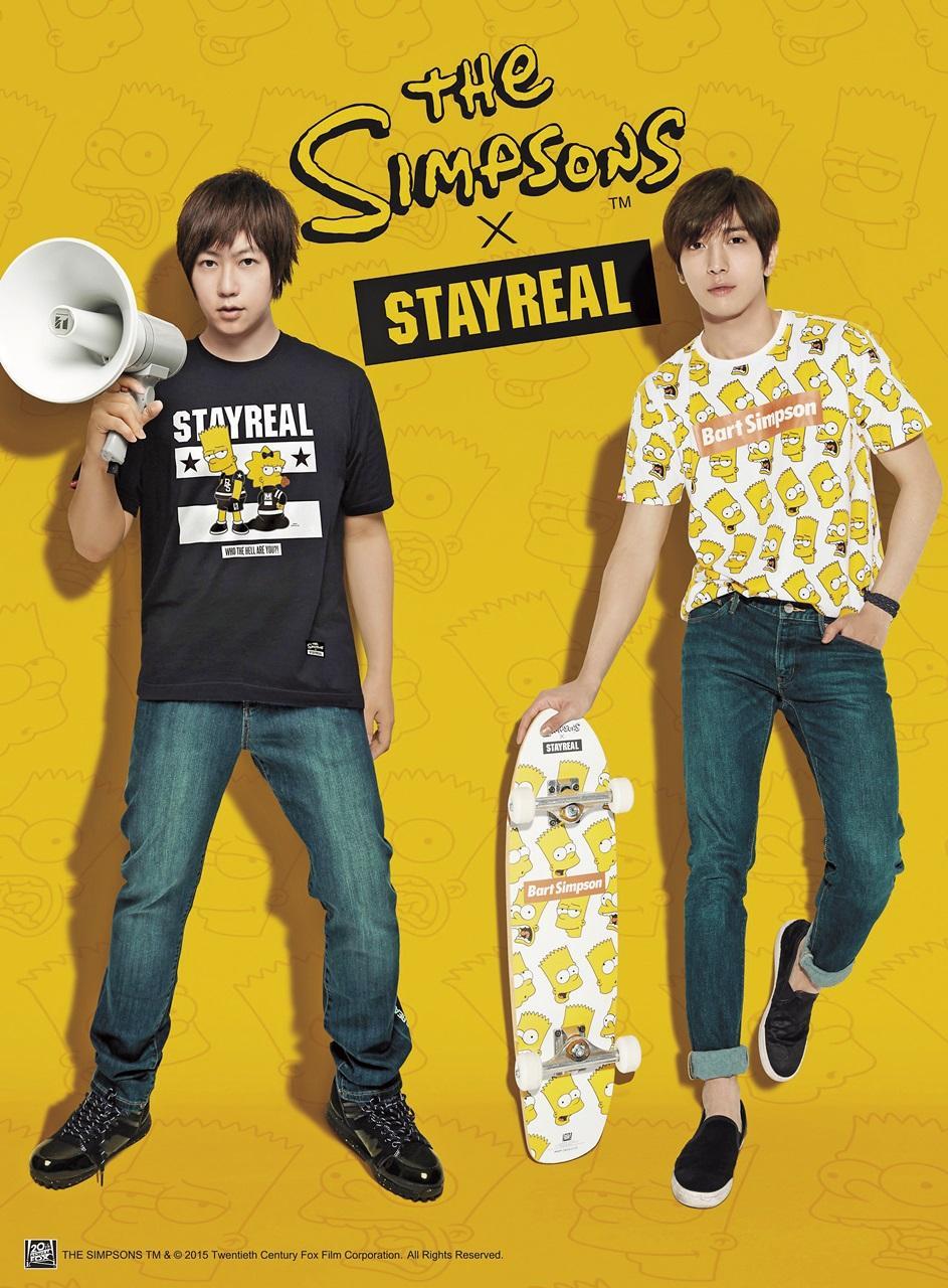 「STAYREAL」2015年找來CNBLUE 合作,據傳因為有員工是主唱鄭容和的死忠歌迷,力促合作,因此讓鄭容和穿上熱愛的《辛普森家庭》潮服代言。(STAYREAL 提供)