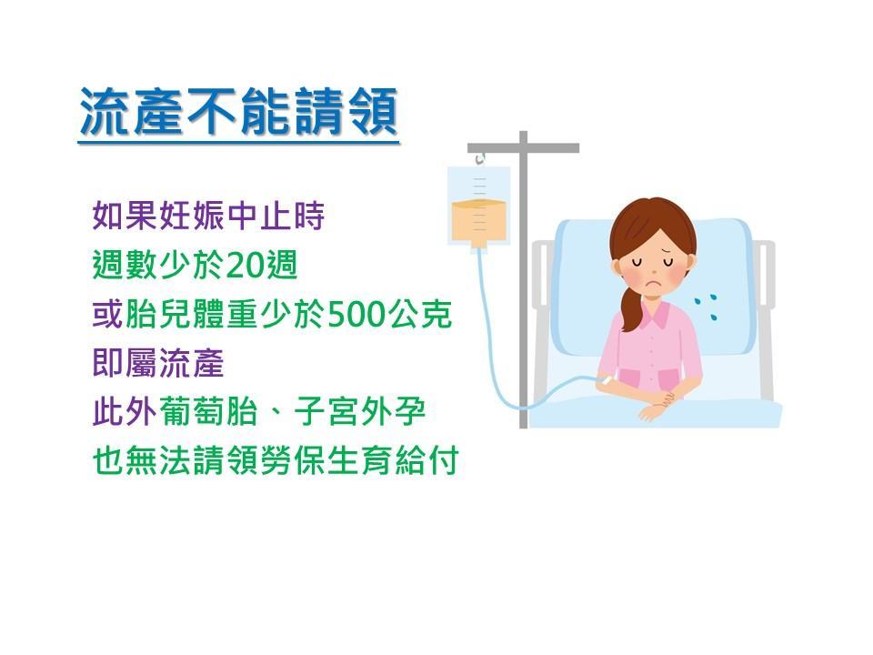此圖說明流產不能請領,流產定義為妊娠終止時少於20週或胎兒體重少於500公克。葡萄胎、子宮外孕也無法請領。