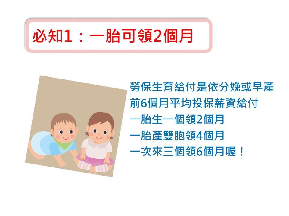 關於勞保生育給付必知訊息1.一胎可以請領兩個月(一胎產雙胞胎可領4個月,三胞胎是6個月喔!)