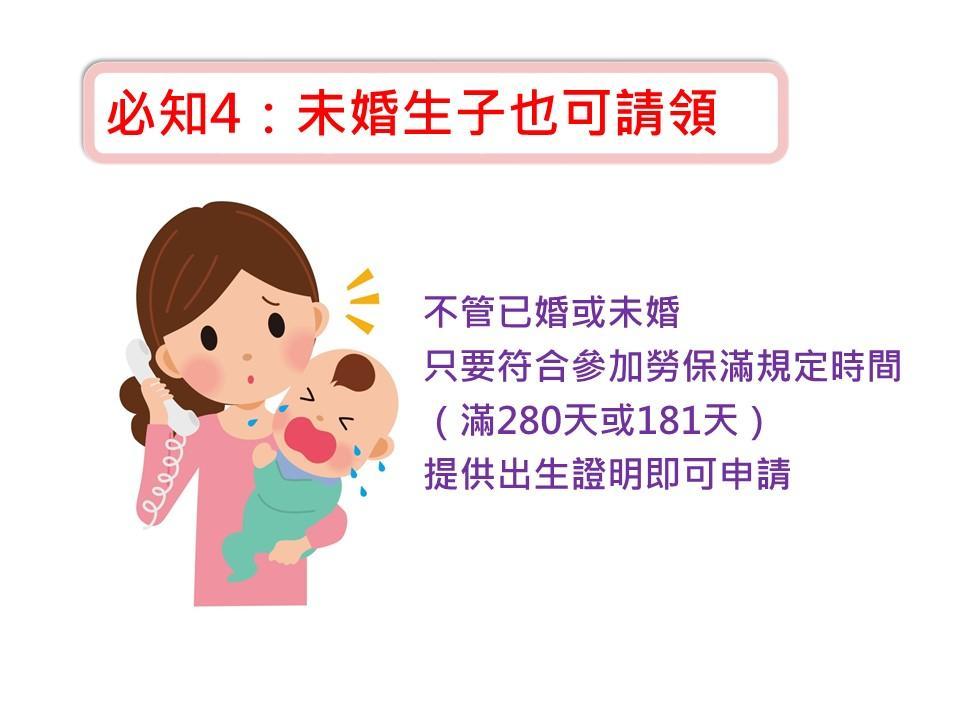關於勞保生育給付必知訊息4.只要符合參加勞保滿規定時間(滿280天或181天),未婚生子也可請領