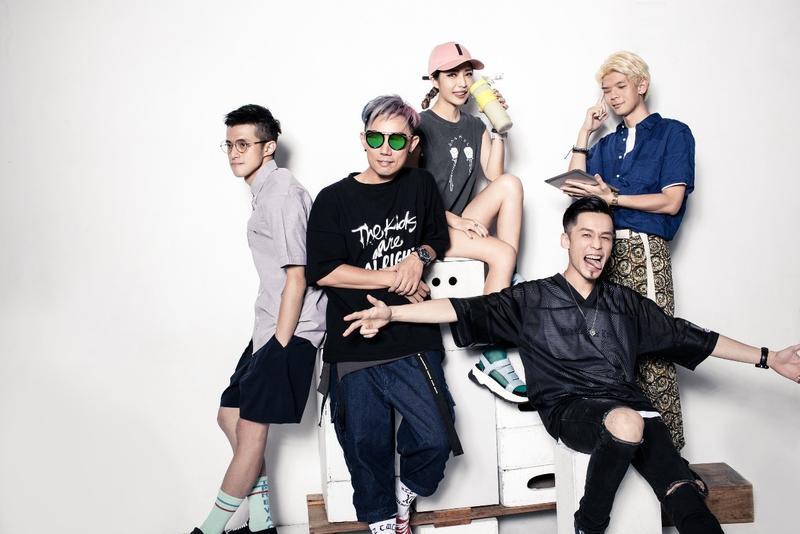 滾石電音將以五組DJ:鄭平(由左至右)、Mykal(林哲儀)、MixyMÖ、DJ GORUND、Slamer為主,推出《滾石電音超大聲》系列。(滾石電音提供)