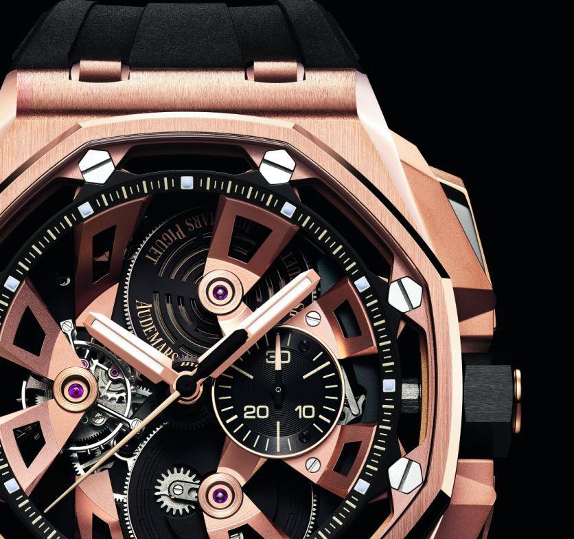 AP在Pre-SIHH發表最新款皇家橡樹離岸型陀飛輪計時碼錶,線條完全跳脫原本框架。