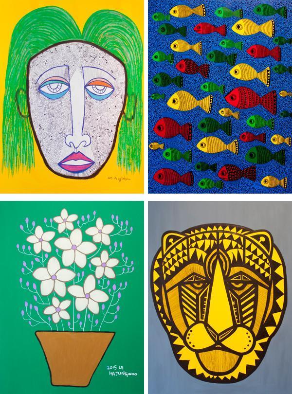 河正宇在2015年洛杉磯舉辦的個人畫展,曾展出他這四幅作品。(翻攝自DAUM網路)