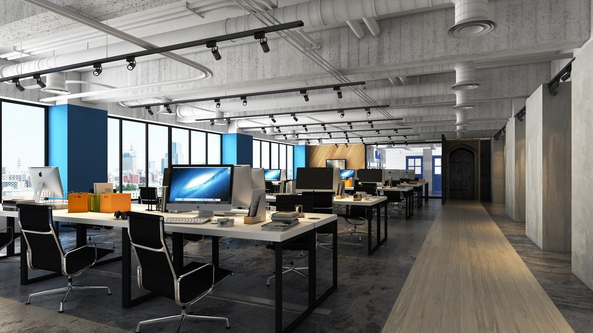 國內知名學生社群軟體辦公空間,有偶設計出藍白黑工業感的工作坊,萃取工業風的金屬、自然光、木紋等元素,拆解再融入其企業識別。(有偶設計提供)